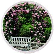 Pink Rose Garden Round Beach Towel