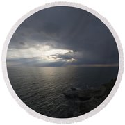 Sunlight Over The Sea Round Beach Towel
