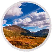 Sunny Day At Rest And Be Thankful. Scotland Round Beach Towel
