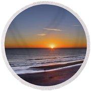 Sunrise Over Atlantic Ocean, Florida Round Beach Towel