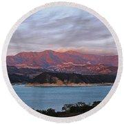 Sunset At Cachuma Lake Round Beach Towel