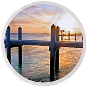 Sunset By The Dock  Round Beach Towel