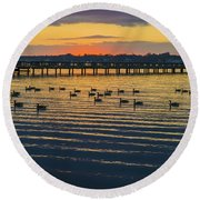 Sunset Geese Round Beach Towel