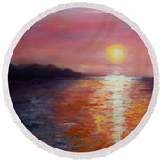 Sunset In Ixtapa Round Beach Towel