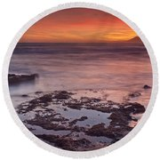 Sunset In Marbella Round Beach Towel