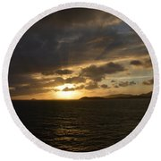 Sunset In The Caribbean Round Beach Towel
