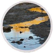 Sunset Reflected In Stream, Arizona Round Beach Towel