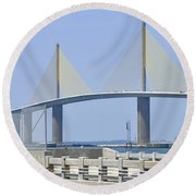 Sunshine Skyway Bridge I Tampa Bay Florida Usa Round Beach Towel