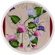 Sweet Peas And Butterflies Round Beach Towel