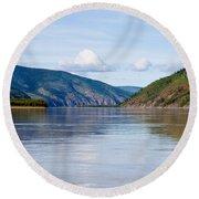 Taiga Hills At Yukon River Near Dawson City Round Beach Towel