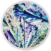 Tartaric Acid Crystals In Polarized Light Round Beach Towel