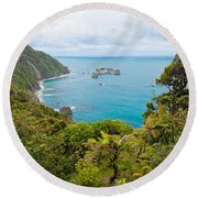 Tasman Sea At West Coast Of South Island Of New Zealand Round Beach Towel