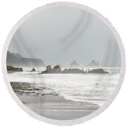 Tasman Sea At West Coast Of South Island Of Nz Round Beach Towel