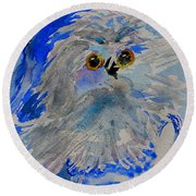 Teacup Owl Round Beach Towel