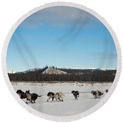 Team Of Sleigh Dogs Pulling Round Beach Towel