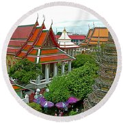 Temple Of The Dawn-wat Arun In Bangkok-thailand Round Beach Towel