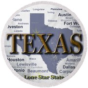 Texas State Pride Map Silhouette  Round Beach Towel