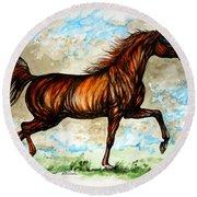 The Chestnut Arabian Horse Round Beach Towel
