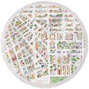 The Greenwich Village Map Round Beach Towel
