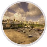 The Harbour At Tenby  Round Beach Towel