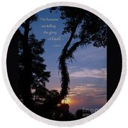 The Heavens Are Telling Round Beach Towel