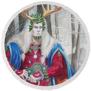 The Holly King Round Beach Towel