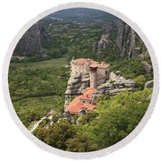 The Holy Monastery Of Rousanou Meteora Greece  Round Beach Towel