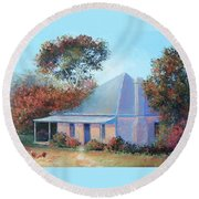 The Old Farm House Round Beach Towel