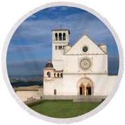 The Papal Basilica Of St. Francis Of Assisi  Round Beach Towel
