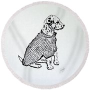 The Sweater Girl Round Beach Towel
