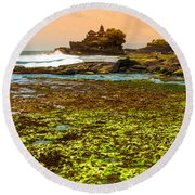 The Tanah Lot Temple - Bali - Indonesia Round Beach Towel