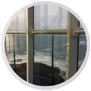 Through Lighthouse Window  Round Beach Towel
