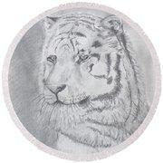Tiger Watching Round Beach Towel