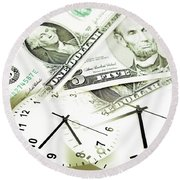 Time Is Money Concept Round Beach Towel by Les Cunliffe