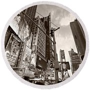 Times Square - New York City Round Beach Towel