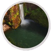 Toketee Falls - Oregon Round Beach Towel