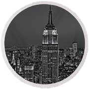Top Of The Rock Bw Round Beach Towel