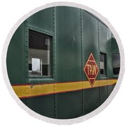 Tpw Rr Caboose Side View Round Beach Towel
