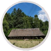 Traditional Polish Cottage House Round Beach Towel