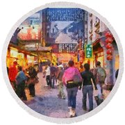 Traditional Shopping Area Round Beach Towel