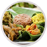 Traditional Vegetarian Curry With Rice In Bali Indonesia Round Beach Towel