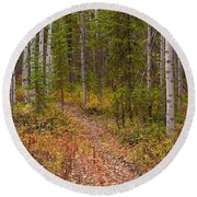 Trail In Golden Aspen Forest Round Beach Towel