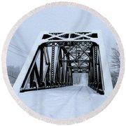 Train Bridge Round Beach Towel