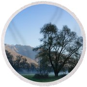 Tree And Mountain Round Beach Towel