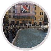 Trevi Fountain Rome Round Beach Towel