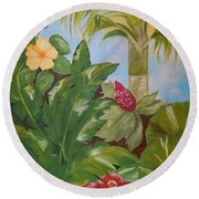 Tropical Garden Round Beach Towel