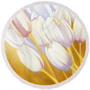 Tulips Are People Xii Round Beach Towel