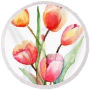 Tulips Flowers Round Beach Towel