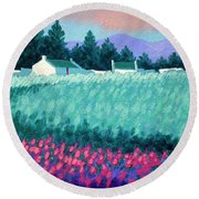 Turquoise Meadow Round Beach Towel