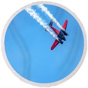 Twin Engine Plane  Round Beach Towel
